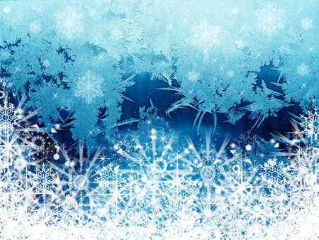 Frosty abstraction background with snowflakes