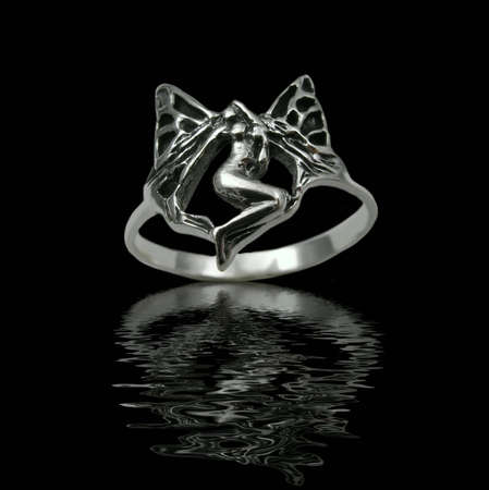 Silver jewelry on black background with water Stock Photo - 3883078