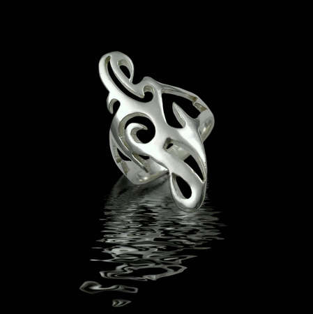 Silver jewelry on black background with water Stock Photo - 3883072