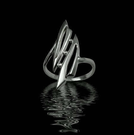 Silver jewelry on black background with water Stock Photo - 3883086