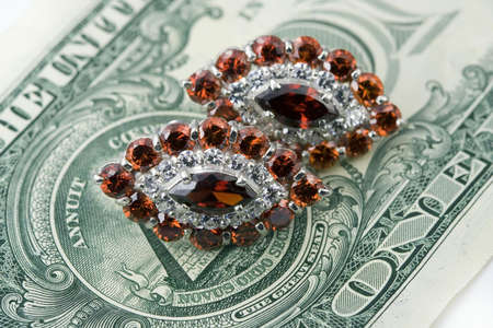 jewelle: Jewelry with garnet and  dollars Stock Photo