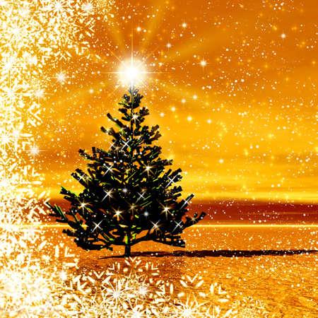 Christmas tree for celebratory design photo