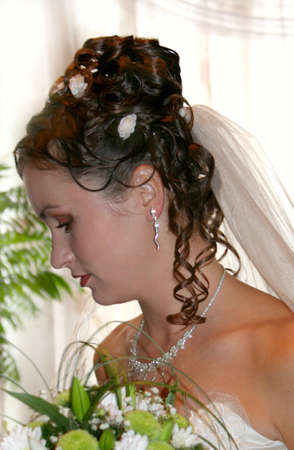 marriageable: Beautiful bride in wedding-day