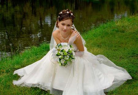 Beautiful bride in wedding-day photo