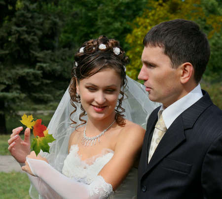 marriageable: Bride and groom in wedding day Stock Photo