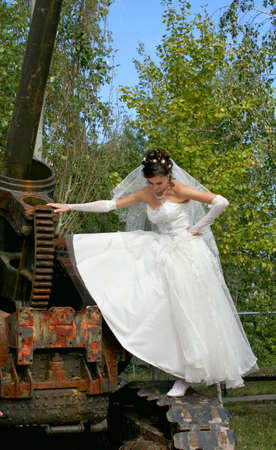 Beautiful bride in wedding-day photo