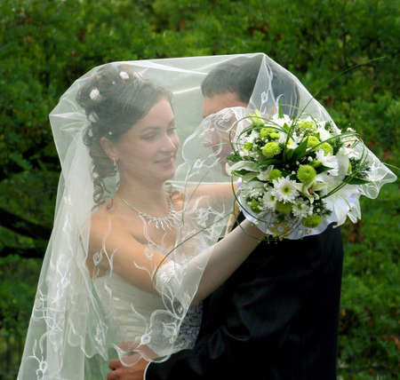 Bride and groom in wedding day photo