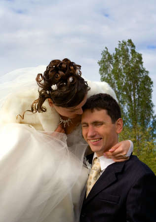 fiance: Bride and groom in wedding day Stock Photo
