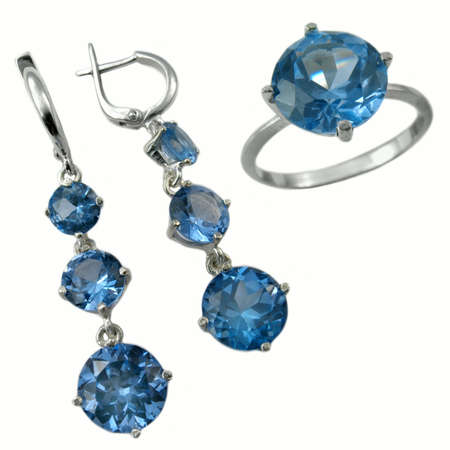 jewelle: Jewelry ring and ear-rings with sapphire on white background