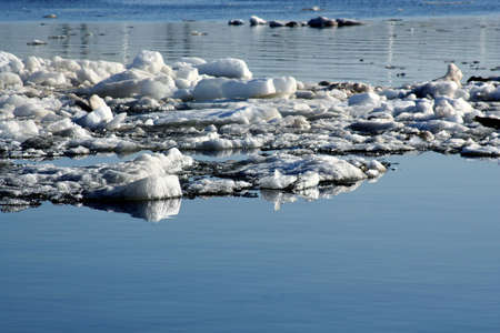 drifting: Spring. Drifting Ice on river Volga Stock Photo