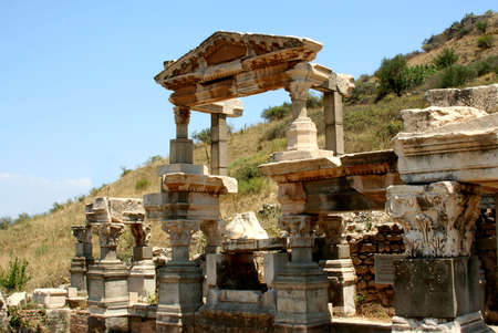 antiquity: Antiquity greek city - Ephesus. Columns and blue sky