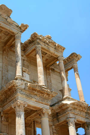 antiquity: Antiquity greek city - Ephesus. Columns of First Library and blue sky  Stock Photo