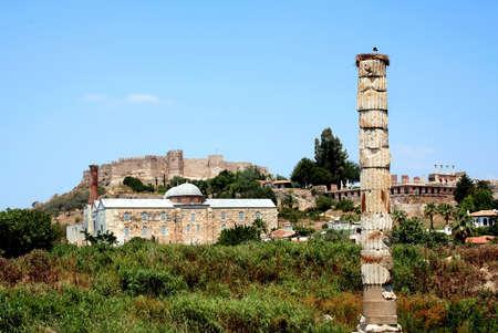 antyk: Starożytności greckie miasta - Efez. Starogrecki świątynia bogini Artemis - jeden z siedmiu cudów światła