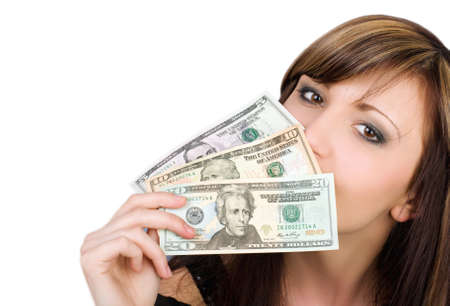 Pretty young woman with American dollars photo