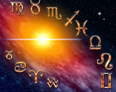 Twelve symbols of the zodiac. Abstraction spacy illustration for various design artworks illustration