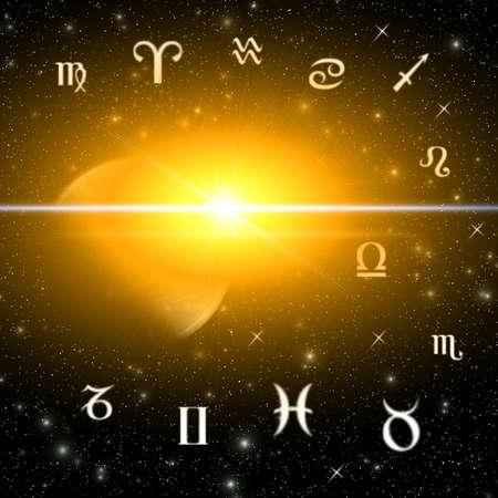 Twelve symbols of the zodiac. Abstraction spacy illustration for various design artworks Stock Illustration - 5092204