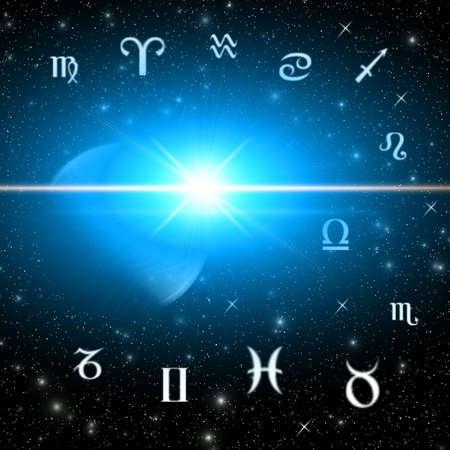 Twelve symbols of the zodiac. Abstraction spacy illustration for vaus design artworks Stock Illustration - 5092175