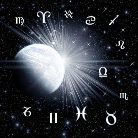 costellazioni: Dodici simboli dello zodiaco. Abstraction spacy illustrazione di progettazione per varie opere d'arte