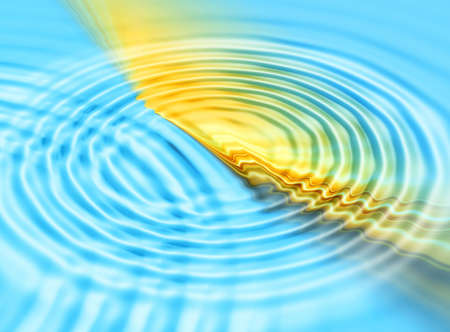 watter: Abstraction blue & yellow watter ripples background for various design artwork