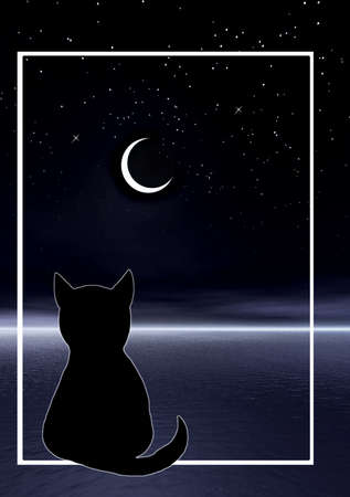 Night picture. Abstraction illustration for design artworks. Cat and moon illustration