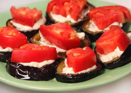 dietetic: Appetizing dietetic food - snack of aubergines and tomato