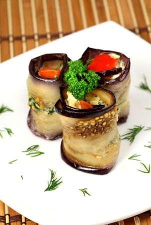 dietetic: Appetizing dietetic food - roll of aubergines