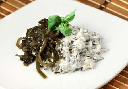 dietetic: Different appetizing dietetic  salads of laminaria