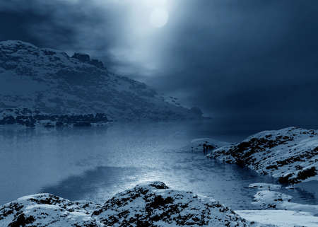 Arctic  night landscape. Winter season. 3d graphics photo