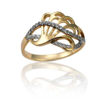brilliants: Golden  ring with  brilliants