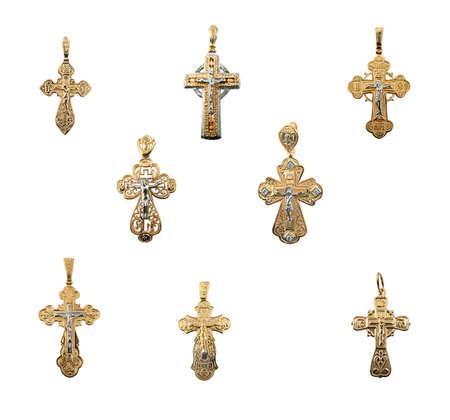 Set of golden jewelry crosses Stock Photo - 6580108