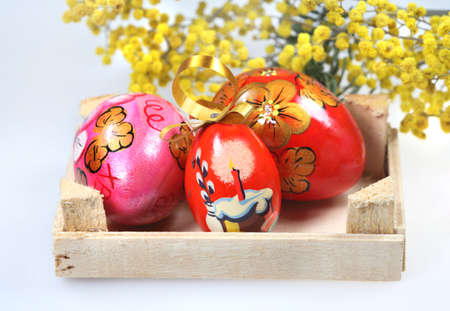 Easter colored eggs with floral pattern photo