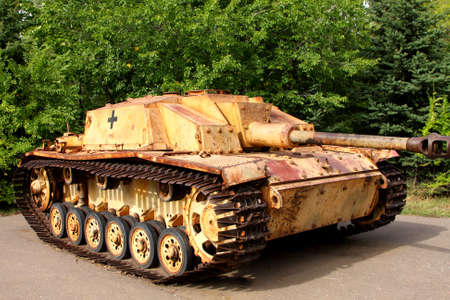german fascist: German fascist tank - the weapon of times of the 2 world war in park of the Victory Stock Photo