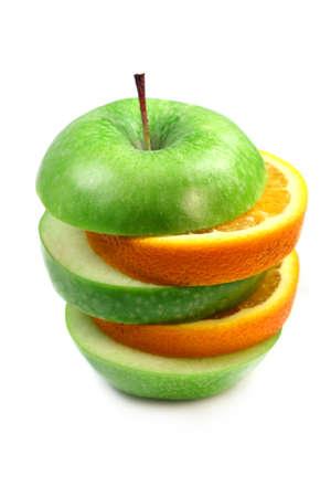 Fruit  orange and apple isolated over white background, macro shot photo