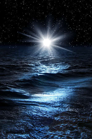 Night picture with sea and sky