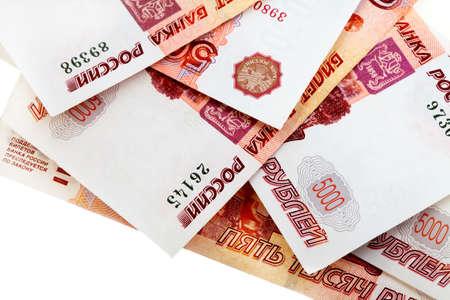 roubles: Russiann big money. Bundle of bank notes roubles - five thousand