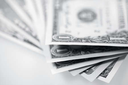 The American money dollars. Bundle of bank notes   photo