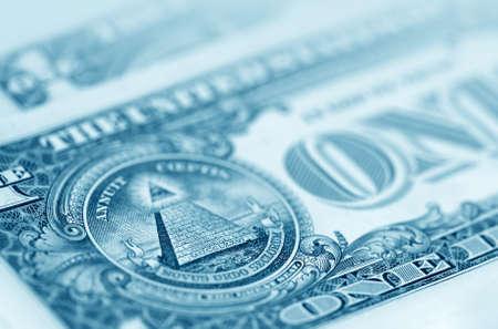 monies: The American money dollars. Bundle of bank notes