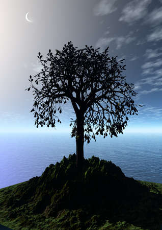 3 d graphics fantasy landscape with lonely tree photo