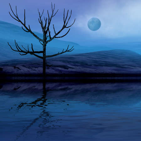 3 d graphics night fantasy landscape with lonely tree photo