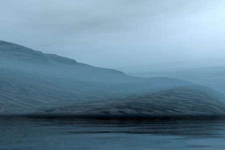 Night 3d graphics foggy evening landscape  Stock Photo - 7984424