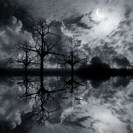 3 d graphics night fantasy landscape with  tree reflected in water Stock Photo - 7984440