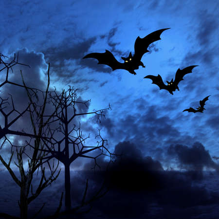 stormcloud:  Halloween abstract dark blue cloudy picture with bats