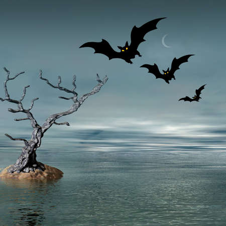 Halloween abstract picture with bats photo