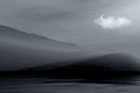 Night 3d graphics landscape - ocean