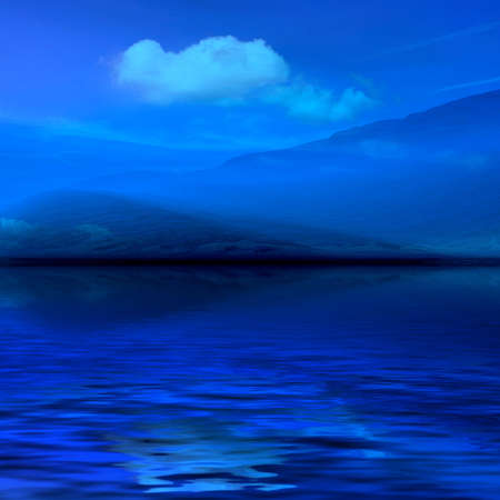 foggy: Night 3d graphics blue misty landscape - ocean Stock Photo