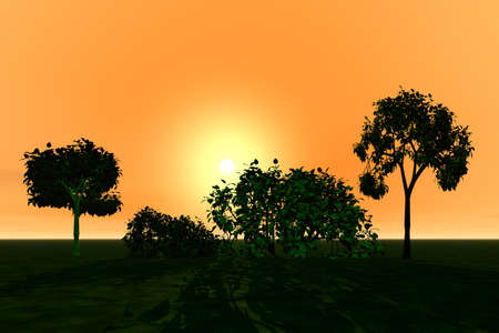 3 d graphics fantasy beautiful landscape with trees. Sunset photo