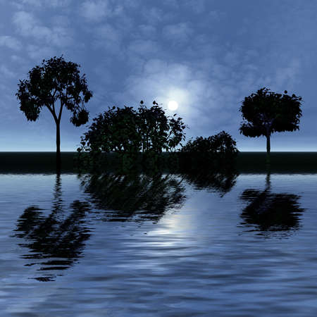 reflected: 3 d graphics night fantasy landscape with  tree reflected in water Stock Photo