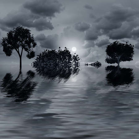 Night fantasy landscape with tree reflected in water