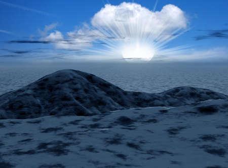 stormcloud: Night 3d graphics fantasy landscape   Stock Photo