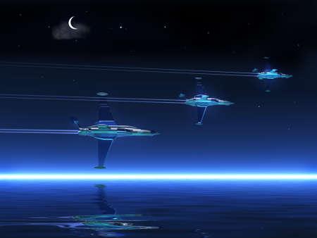 stormcloud: Night   landscape - ocean and fly battle-planes